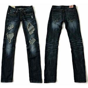 Machine Jeans Skinny Distressed Ripped Blue Denim